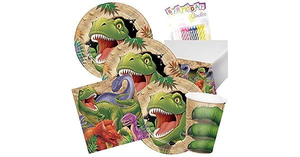 Amazon.com: T-Rex Dinosaurio fiesta de cumpleaños platos ...