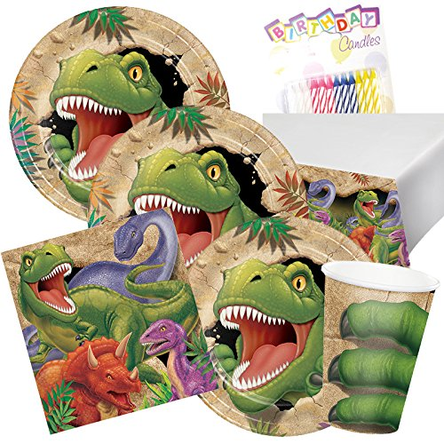T-Rex Dinosaur Theme Party Supplies Pack (Serves-16) Plates Napkins Cups and Tablecloth - Dino Blast Party Supply Tableware Set Kit Includes Birthday Candles by Lobyn Value Pack (Image #5)