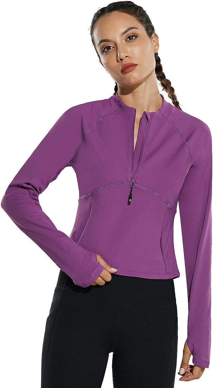 BALEAF Womens Crop Half Zip Pullover Sweatshirts Long Sleeve Cold Weather Running Gear Thumbholes