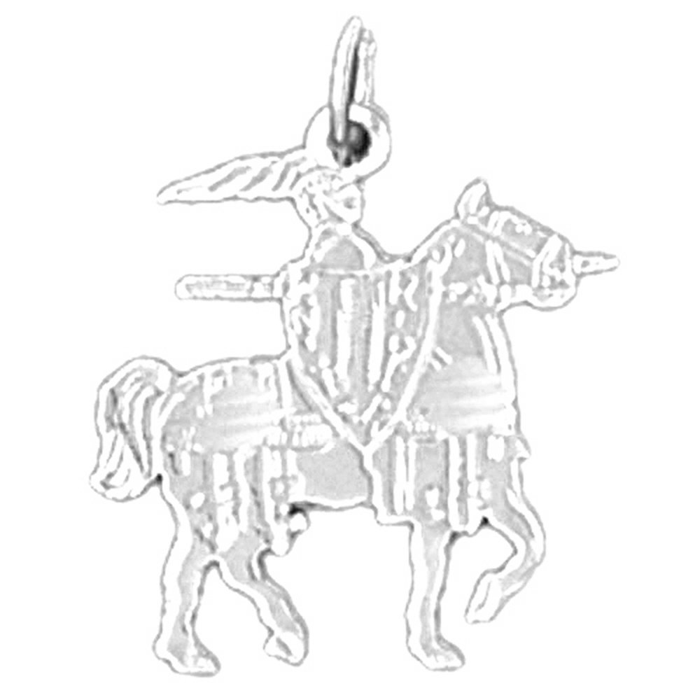 19 mm 14K White Gold Jousting Knight Pendant Jewels Obsession Roman Soldier Pendant