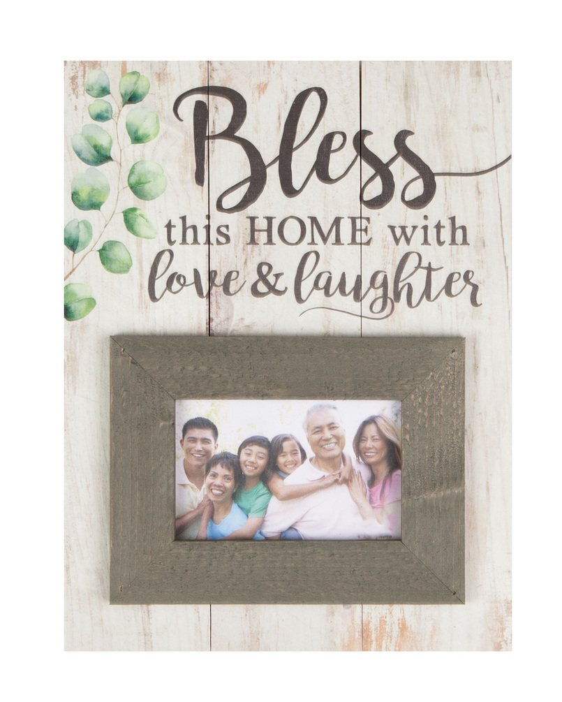 Bless Home Love & Laughter Whitewash 17.5 x 17 Wood Wall Hanging Photo Frame Plaque