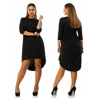 0b268a03d7f Plus Size Front Short Back Long Patchwork Dresses for Fat Women (US ...