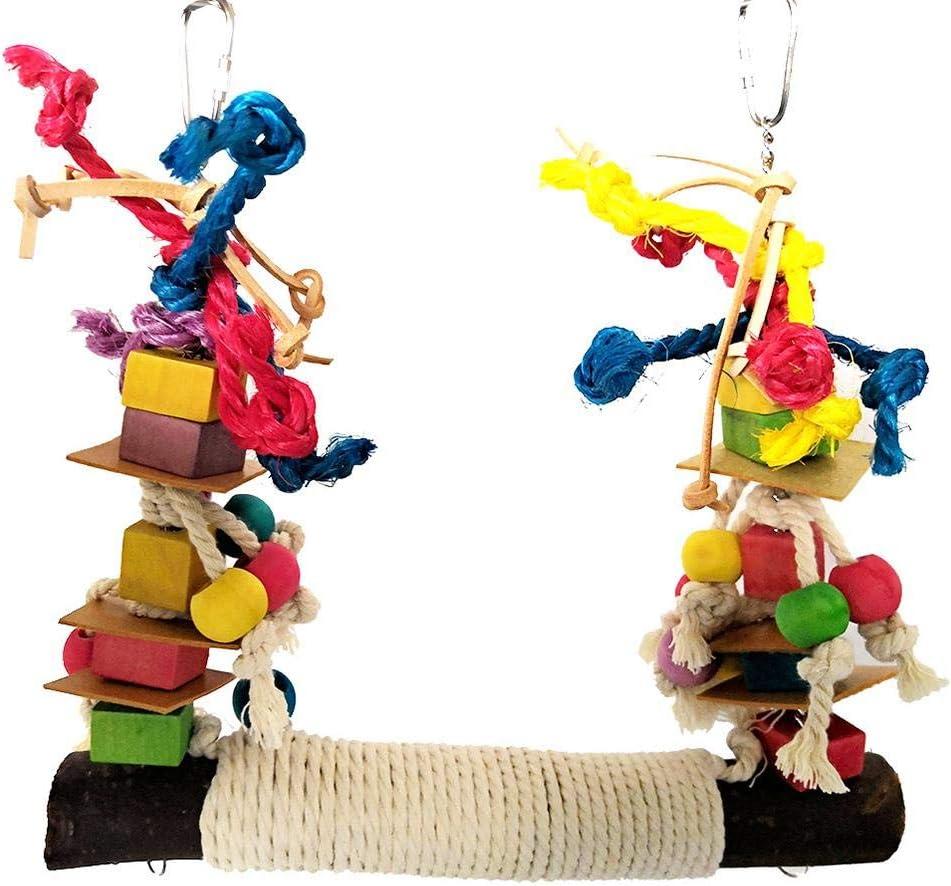 Mona43Henry Juguete para Masticar Swing de Loro, Cuero de Perca de pájaro Colorido Bloque de construcción Cuerda de algodón Big Swing para Mascota Ave