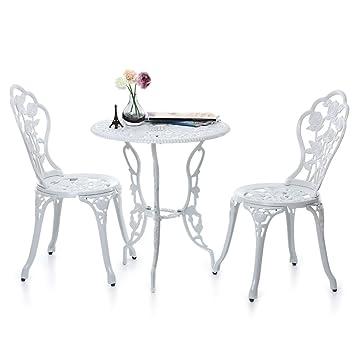 iKayaa 3tlg. Balkonmöbel Gartenmöbel Set mit Rose Muster 1xTisch + ...