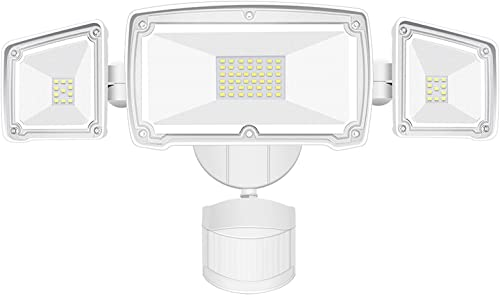 LED Security Lights Motion Sensor Light Outdoor, with 3 Adjustable Head 4000LM, Flood Light 42W 6000K Super Bright IP65 Waterproof Full Metal for Backyard, Patio, Garage, Porch, Yard