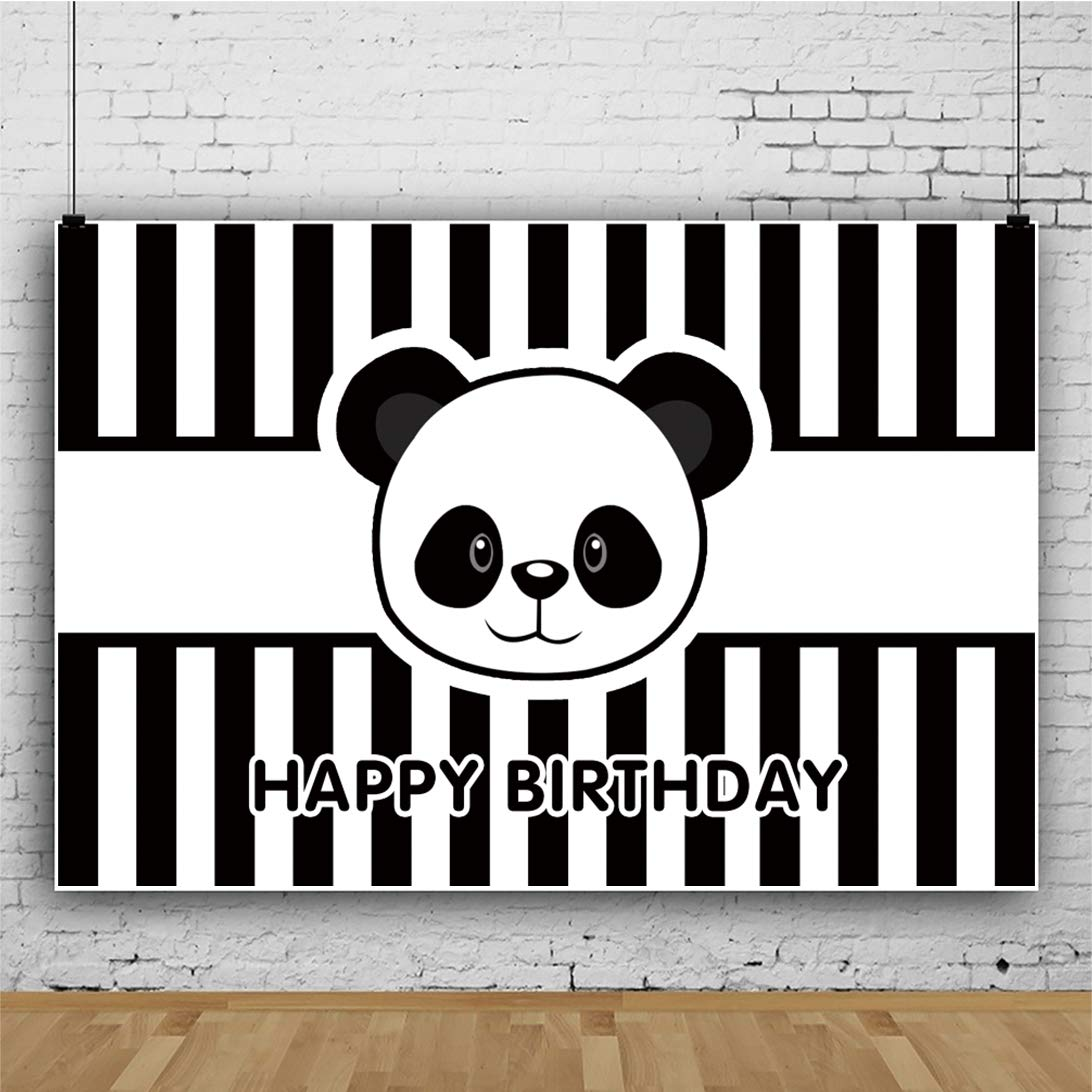 Buy Renaiss 5x3ft Happy Birthday Party Backdrop Cartoon Cute Panda Head Black Stripe Photography Background Baby Shower Kids Birthday Party Banner Vinyl Wallpaper Online At Low Price In India Renaiss Camera