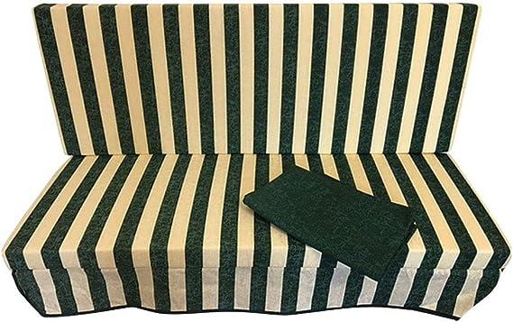 Set de cojín de repuesto para balancín de 3 plazas de 135 x 48 x 7 cm con funda extraíble + toldo: Amazon.es: Jardín