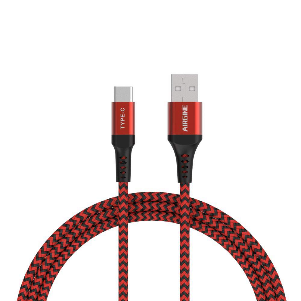USB Type C Cable, AIRGINE Nylon Braided Fast Charging Cord (2Pack, 6.6ft, Red) Compatible for Samsung Galaxy S9 Plus S8 Plus Note 9 and Other Type C Cable Design Devices