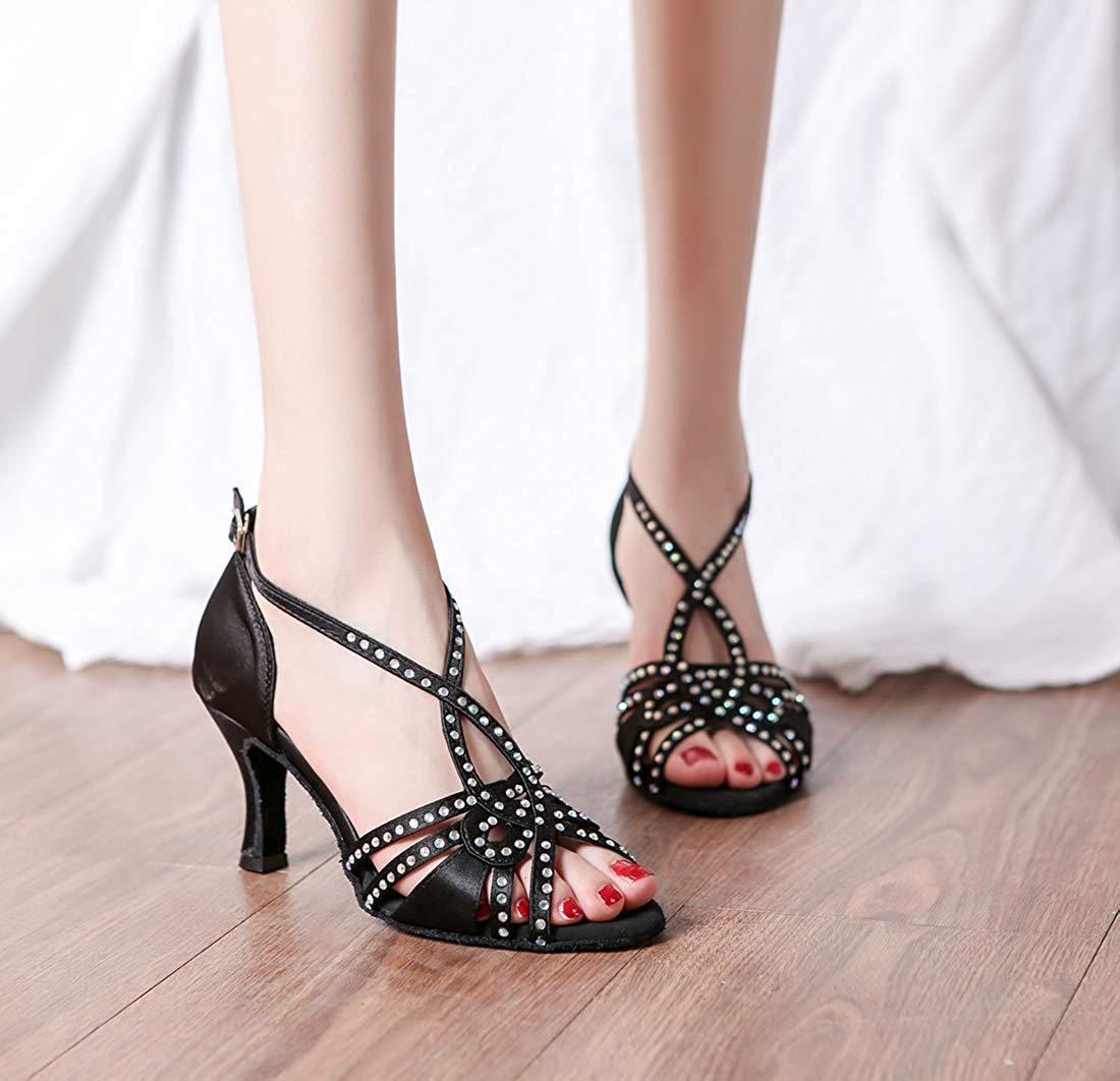 Qiusa Frauen Kristalle T-Strap handgemachte Tanzschuhe Mode Hochzeit Sandalen (Farbe (Farbe (Farbe   Schwarz Größe   2 UK) 9ffd7e