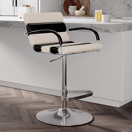 Amazon Com Zuri Furniture Black And Cream Ego Adjustable Height Swivel Bar Stool With Chrome Base Furniture Decor