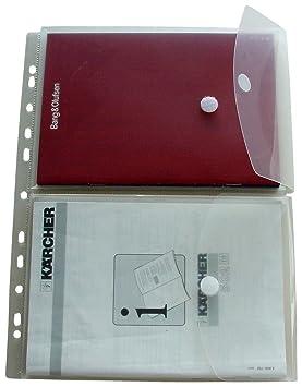 HFP - Juego de 2 fundas para documentos A5 en lmina tamao A4 (cierre de velcro y margen perforado para archivador, 5 unidades): Amazon.es: Oficina y ...