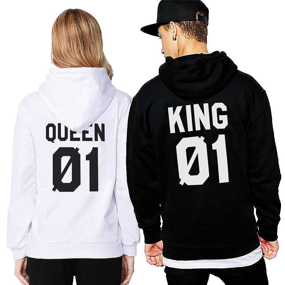 Felpa Coppia King Queen 01 Stampa Con Cappuccio Pullover Manica Lunga Sweatshirt Cotone Fidanzati Uomo Donna San Valentino Bianco Nero Regalo