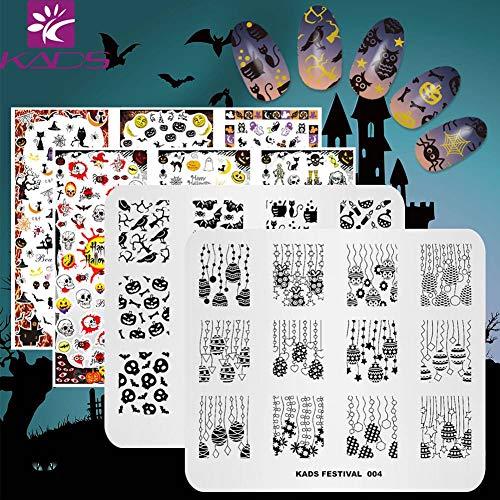 KADS 2pcs Halloween Nail Stamping Plate+2pcs 3D Nail Sticker Template Image Design Plates for Nail Art Decoration and DIY Nail Art ()