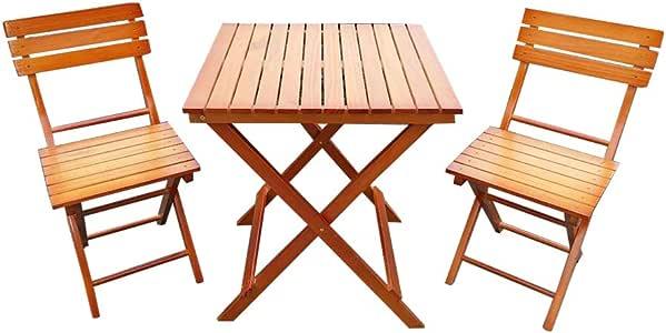 PanaCasa - Conjunto de Mesa y 2 Sillas Plegable Madera Jardín Patio Exterior Balcón al Aire Libre Terraza Restaurante Cafetería Camping Bar Bistro: Amazon.es: Jardín