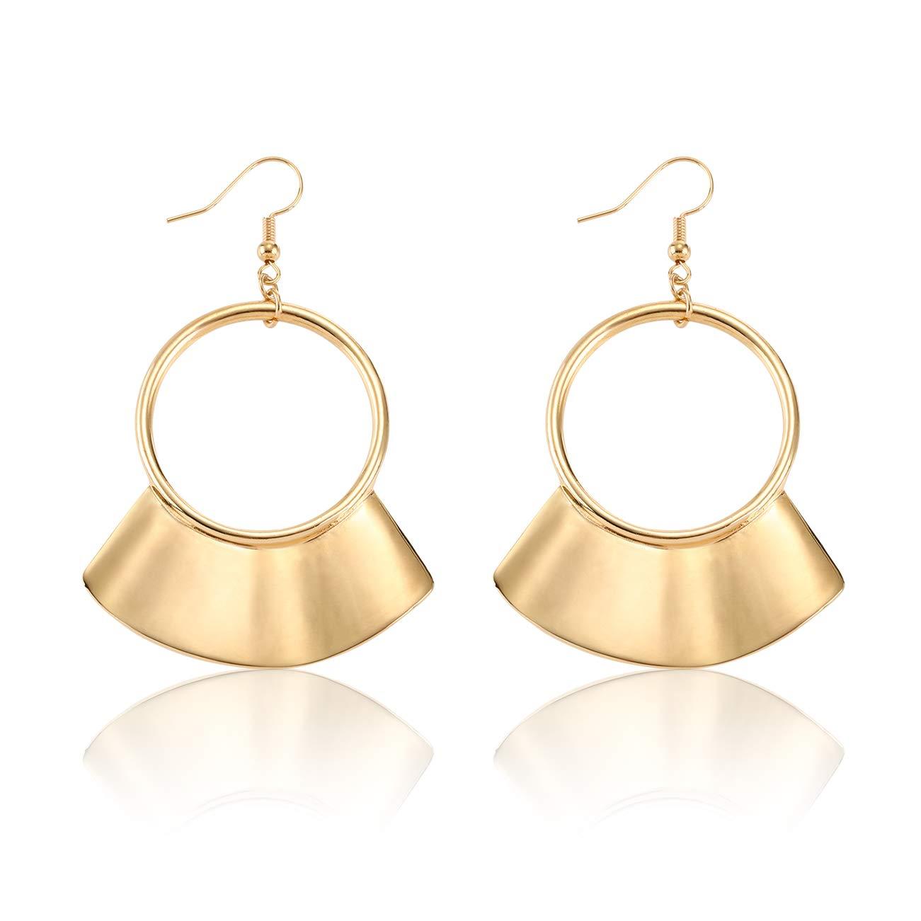 Shield Paddle Earring Lightweight Wave Fringe Hoop Earrings Statement Earrings Boho Costume Jewelry