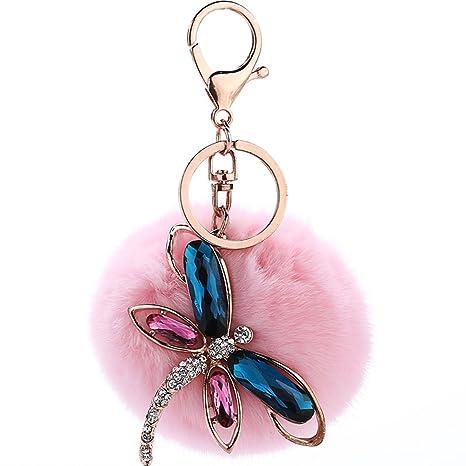 Mxixi - Llavero de peluche con diseño de libélula y bolas de ...