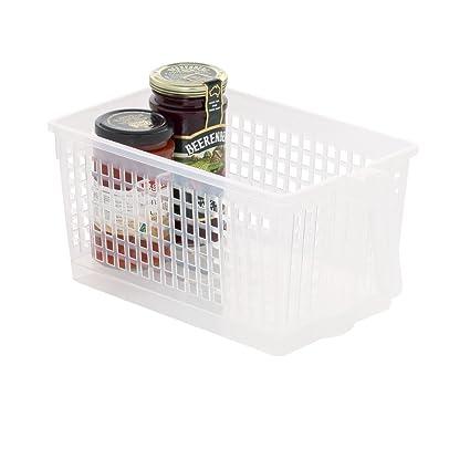 51c6f188bd06 NOW & ZEN Howards Plastic Storage Basket with Handle - Medium (Clear)