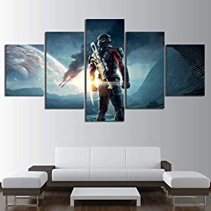 WANGZUO Wall Art Poster Paintings 5 Piece Canvas Art Mass Effect Andromeda Video Game Picture Prints Artwork Living Room Wall Decor Modern Home Decoration Wooden Framed Ready to Hang-150x80CM