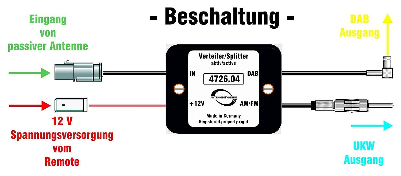 Antennentechnik Bad Blankenburg 4726.04 aktive Frequenzweiche//Verteiler f/ür Passive Antenne FM//DAB