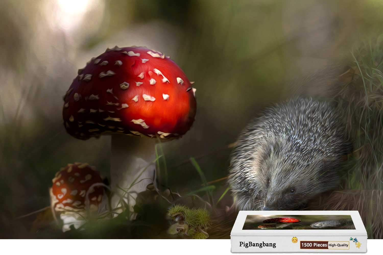 【2019正規激安】 PigBangbang,Basswood 明るいカラフルなアート絵 - 22.6インチ) X ハリネズミと赤いマッシュルーム- 1500ピースジグソーパズル B07HF5X117 (34.4 X 22.6インチ) B07HF5X117, アリタマチ:ea5919e2 --- a0267596.xsph.ru