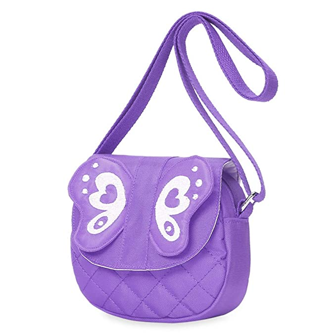 Kids Crossbody Messenger Shoulder Bag,Tropical Insect with Artistic Ornate Wings on Dark Purple Backdrop