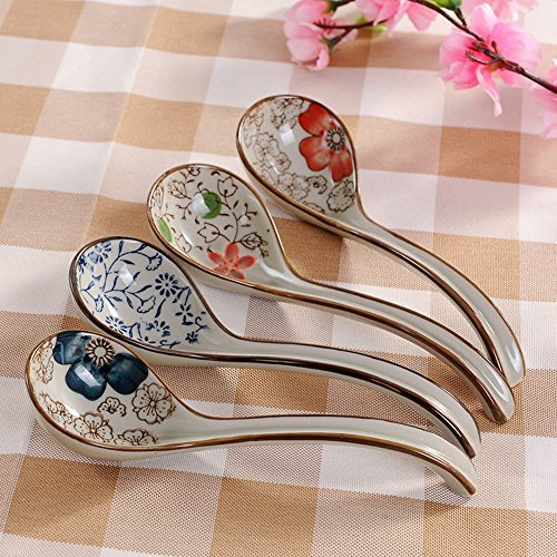 DEBON Long Handle Soup Spoon, Hand-Painted Ceramic Table Spoon (4-pack) (Chinese Painted Egg)