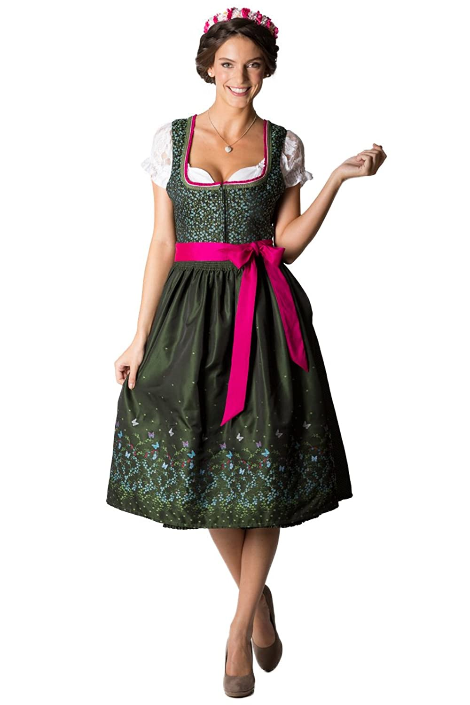 Melega Damen Midi Dirndl Amina grün/pink D010205