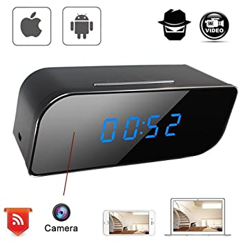 CursOnline® Despertador Reloj Espía Spy Camera oculta WIFI HD Motion Detection cámara cámara espía Micro oculta Digital Video Camera P2P Conexión Mediante ...