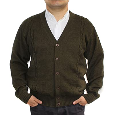 Alpaca Cardigan Golf Sweater Jersey BRIAD Militar Green V Neck Buttons and Pockets Made in Peru at Men's Clothing store