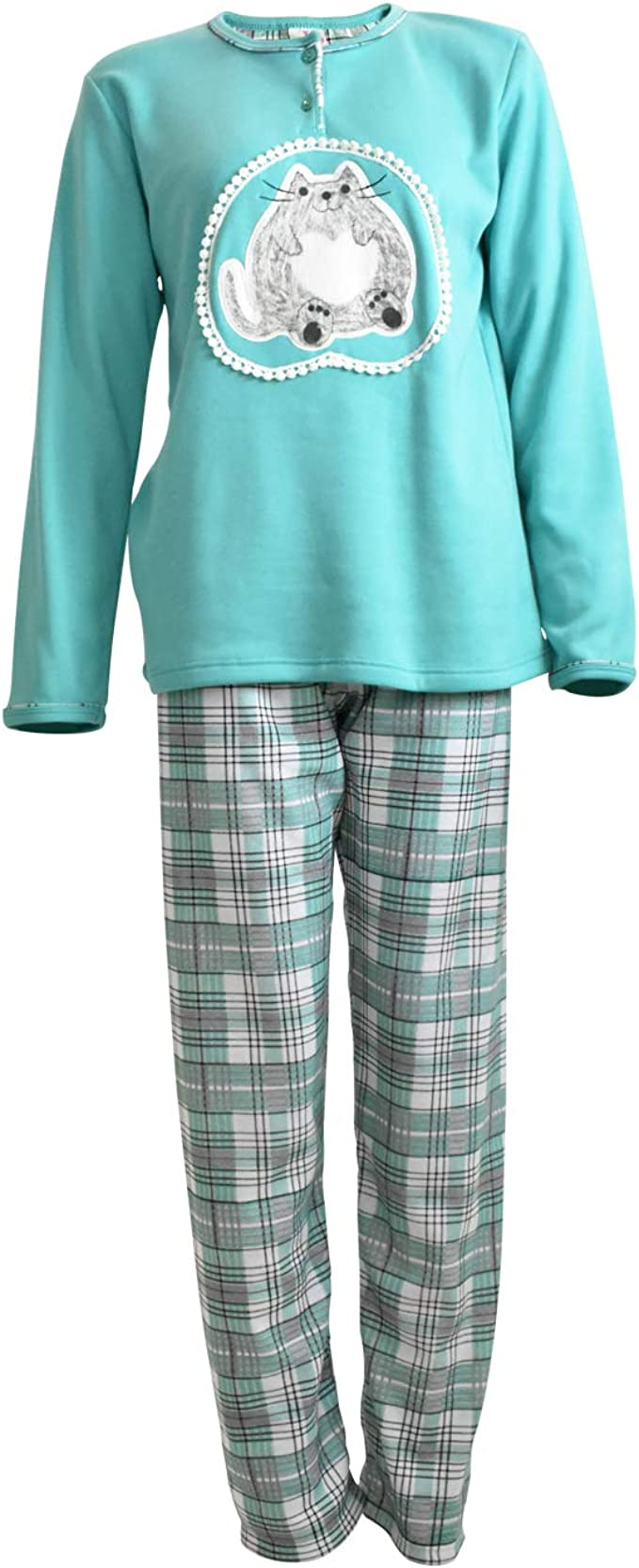 Mini kitten - Pijama de Mujer de Algodón Calido de Conjuntos Largo ...
