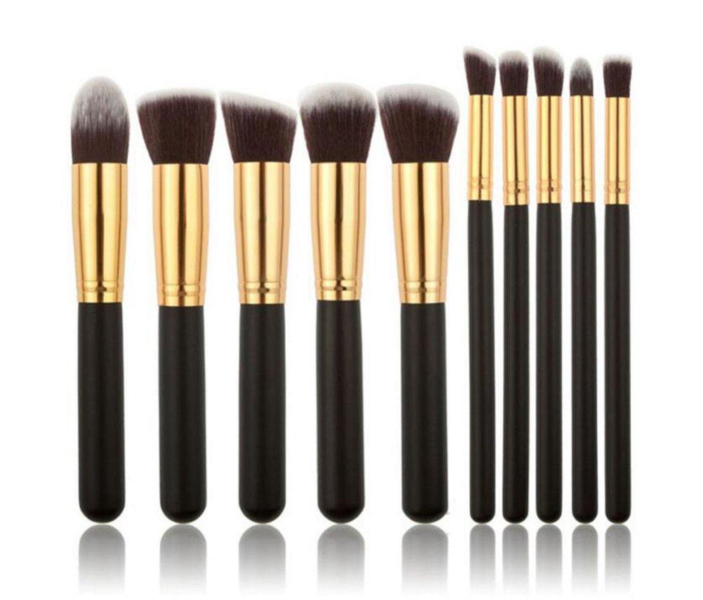 Leisial - Set di 20 pennelli da trucco, per applicazione di fondotinta, fard, trucco per le sopracciglia, gli occhi (Marrone+Oro)