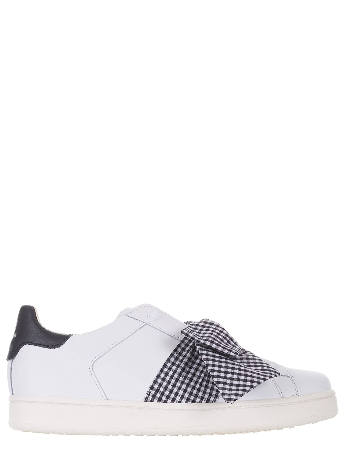 MOA Sneakers Donna, in Pelle, Bianco, Maxi Fiocco Frontale, M767  -
