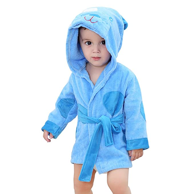 Amazon.com: Baby Girls Novelty 3D Hooded Animal Dressing Gown Bath ...