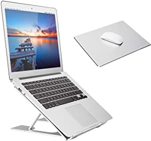"Adjustable Laptop Stand,Ventilated Portable Ergonomic Notebook Riser for Desk,Multi-Angle Adjustable Portable Anti-Slip Mount for MacBook, Surface Laptop, Notebook, 10""-17"" Tablet (Silver+Mouse Mat)"