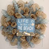 Life Is Better At Beach with Message in Bottle Summer Deco Mesh Wreath