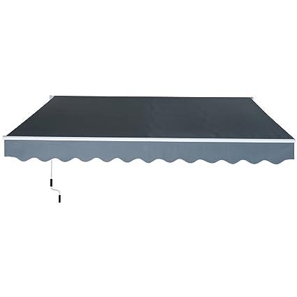 Outsunny Toldo Manual Plegable De Aluminio Toldo Patio