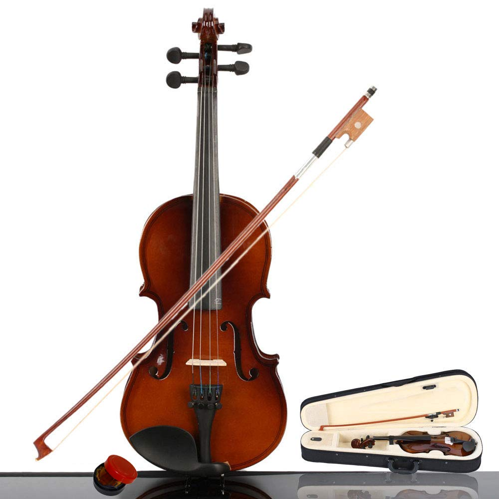 2019 New New 1/4 Size Violin Case Acoustic Violin Case Durable Natural Solid Wood Fiddle for Beginners and Students w/Case, Bow and Rosin(US stock)