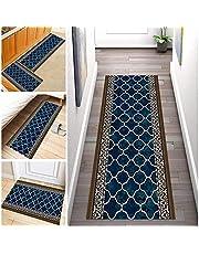 Marokko Tapijt lopers Voor Gangen Antislip, Lange Geometrie Tapijt Polyester Wasbaar Geschikt voor gang, keuken, woonkamer, Breedte 60cm/ 70cm/ 80cm/ 90cm/ 100cm