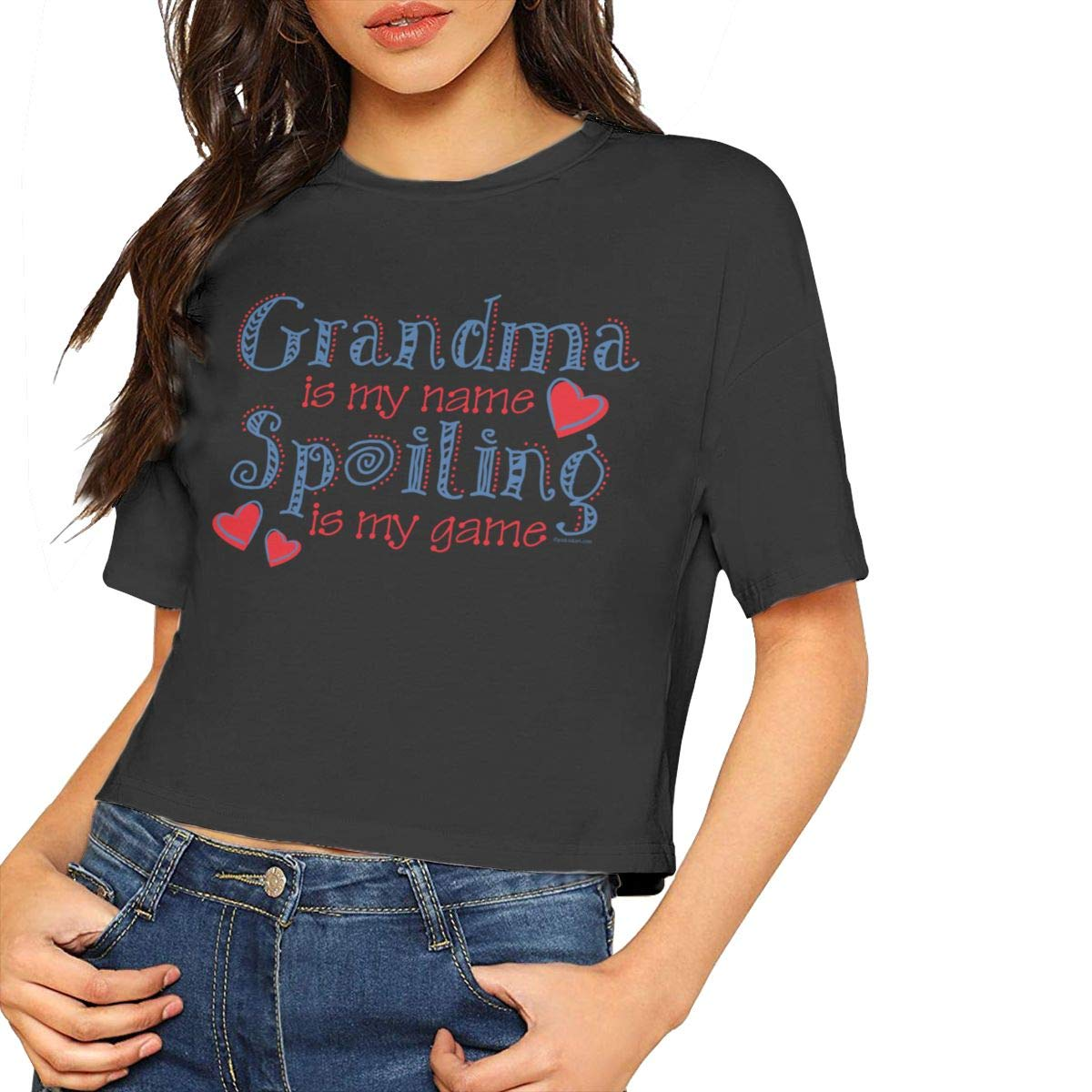 Grandma is My Name Spoiling is My Game Navel T-Shirt Crop