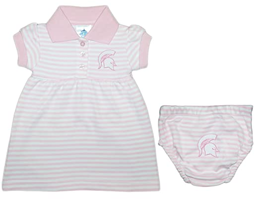 d3b76a25ff6 Michigan State University Spartans Striped Game Day Dress with Bloomer -  Pink -  Amazon.co.uk  Clothing