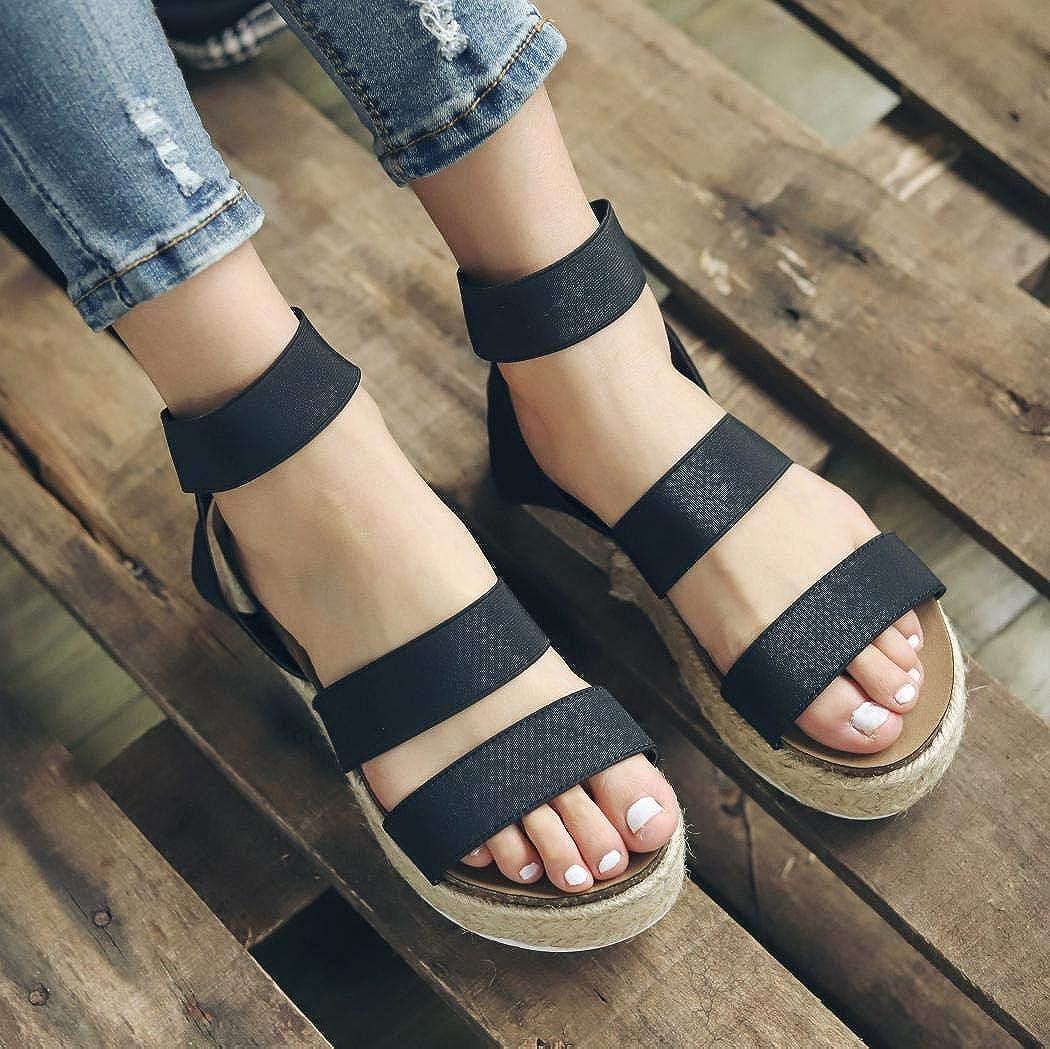 Women Slide On Footbed Wedge Sandals Comfort Ankle Platform Espadrilles Sandals with Elastic Straps