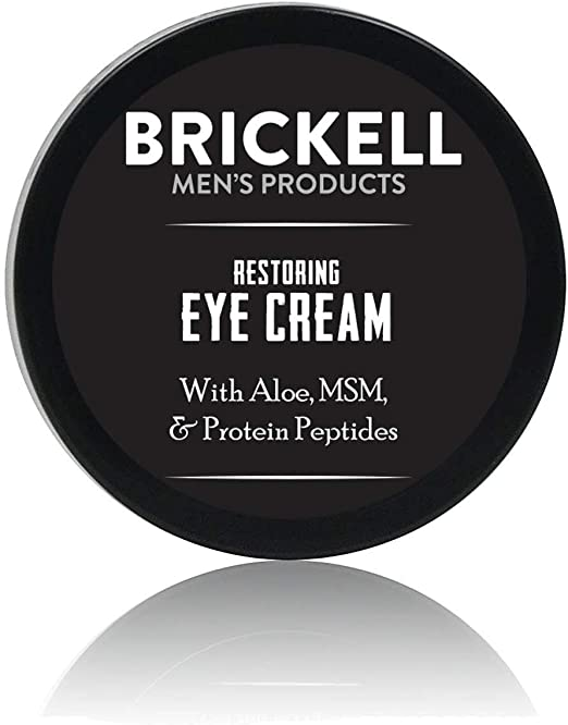 Brickell Men's Products Crème Réparatrice pour les Yeux, Naturel et Bio, Baume Anti-Âge pour les Yeux pour Réduire les Rides, les Poches, les Cernes - .5 oz