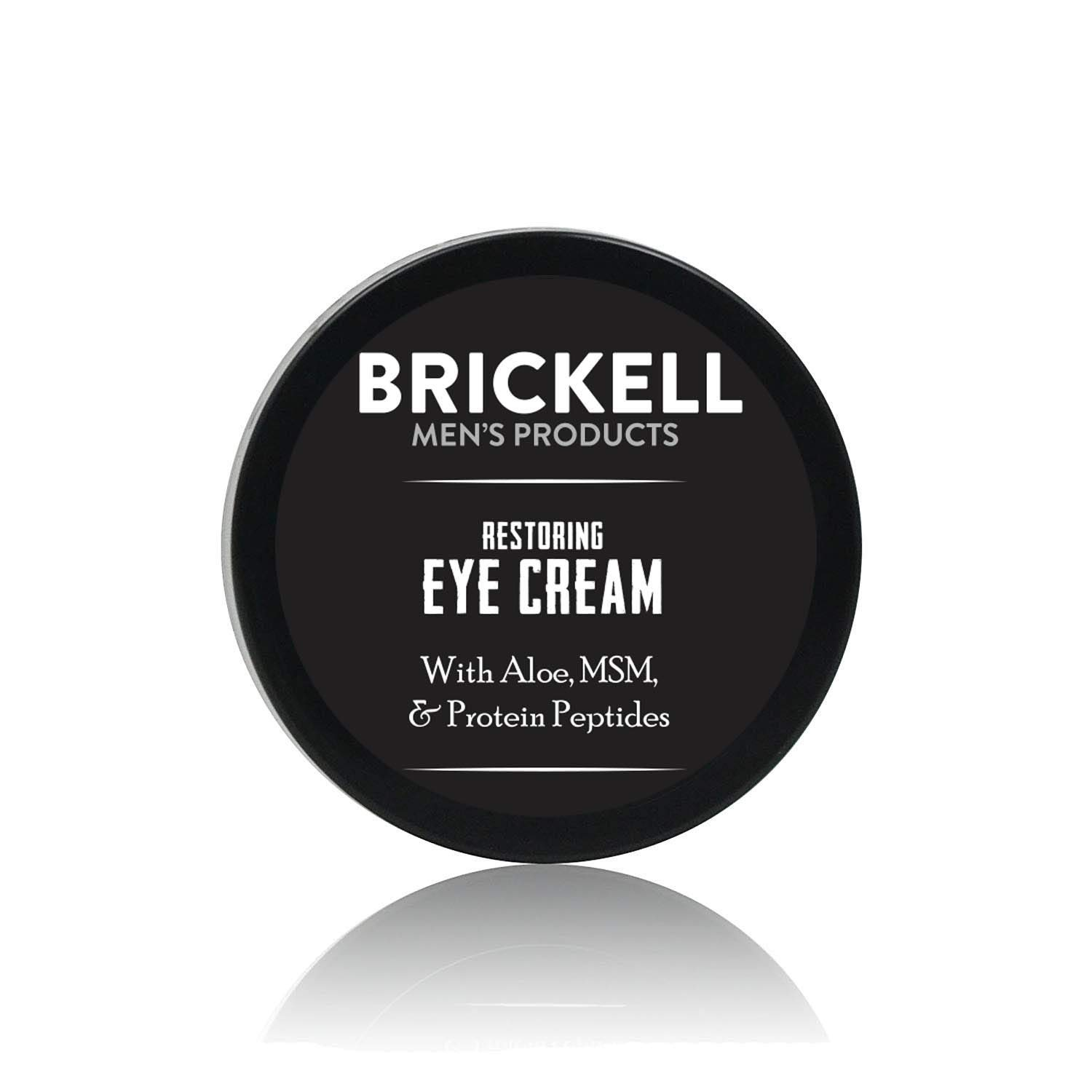 Brickell Men's Restoring Eye Cream for Men, Natural and Organic Anti Aging Eye Balm To Reduce Puffiness, Wrinkles, Dark Circles, Crows Feet and Under Eye Bags, .5 Ounce, Unscented: Beauty