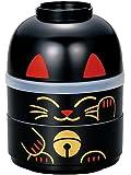 Tierra Zen 526783 Boite à Bento Maneki Neko Plastique Noir/noir 10 x 13,0 x 13 cm