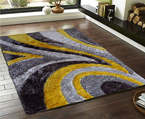 Quality Area Shag Rug, Hand Tufted , Contemporary Design, Dandelion Yellow, Dark Taupe, Bright grey, Dark grey