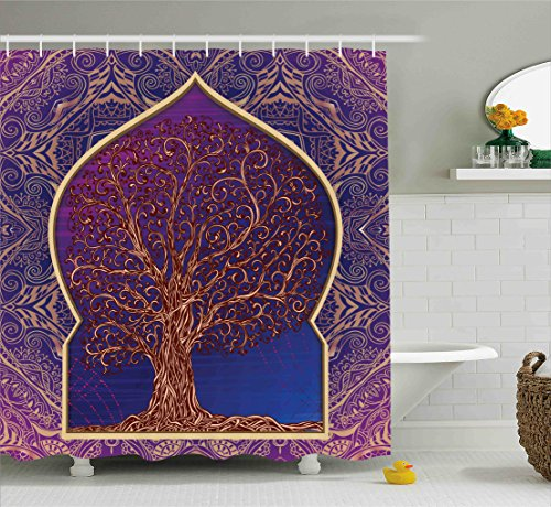 Ambesonne Leafless Branches Moroccan Bathroom