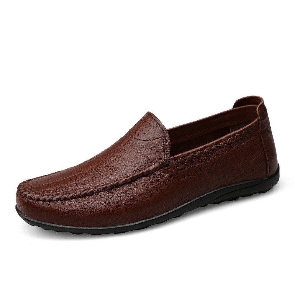 Mocasín de conducción de los Hombres Ocasionales y refrescantes Zapatos de Cuero Genuino con Suelas Blandas no Son Mocasines de Barco resbaladizo 45 EU|Marron Oscuro