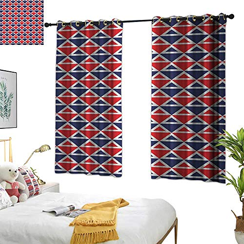 Warm Family Double Curtain Rod Americana,USA Flag Inspired Abstract Pattern Squares and Triangles Artwork, Red Dark Blue and White 72