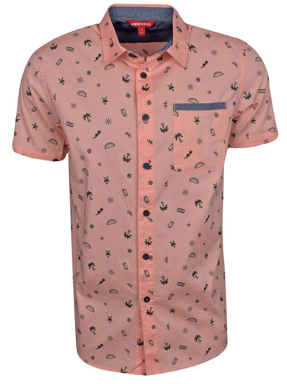 UNIONBAY Men's Classic Short Sleeve Poplin Button-up Woven Shirt, Light Flamingo, Large