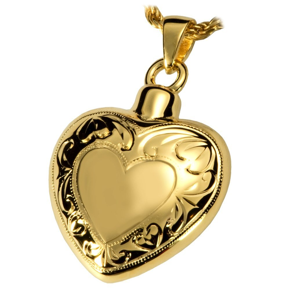 gold-Plated Sterling Silver Memorial Gallery MG-3093gp Double Etched Heart 14K gold Sterling Silver Plating Cremation Pet Jewelry